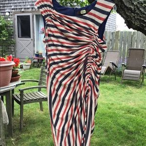 Striped, ruched dress NWOT